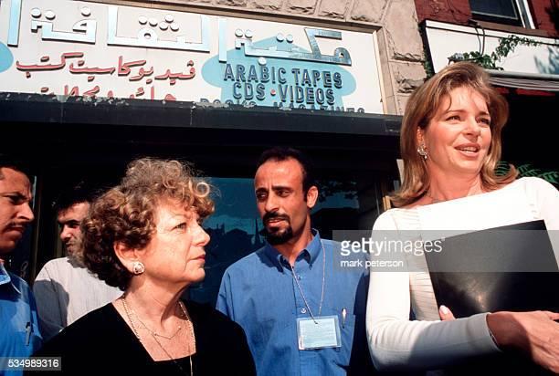 Queen Noor Al Hussain of Jordan visits Arab enclave of stores in Brooklyn weeks after the terrorist attacks warning against the backlash toward...