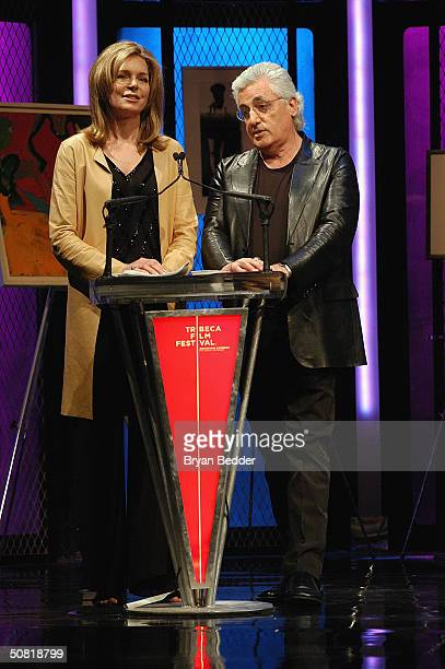 Queen Noor and Germano Celant of Fondazione Prada present the award for Best Documentary at the Third Annual Tribeca Film Festival Awards Ceremony...