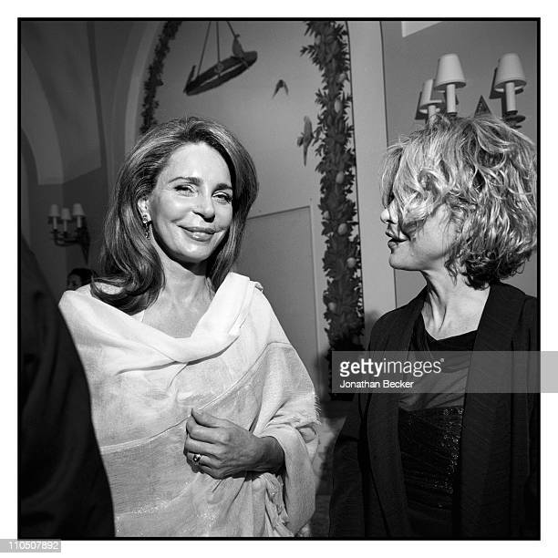 Queen Noor of Jordan and actress Meg Ryan are photographed at Vanity Fair Cannes Party at the Eden Roc, Cap d'Antibes for Vanity Fair Magazine on May...