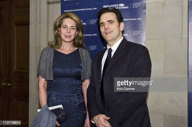 Queen Noor of Jordan and Matt Dillon pose for a photo during the Refugees International's 32nd Anniversary Dinner at Andrew W Mellon Auditorium on...