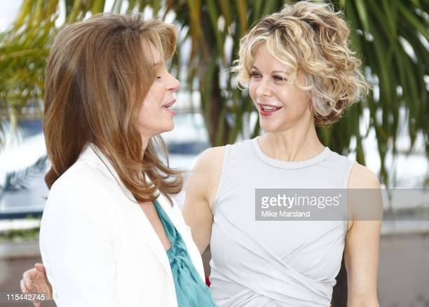Queen Noor of Jordan and Meg Ryan attend the 'Countdown to Zero' Photo Call held at the Palais des Festivals during the 63rd Annual International...