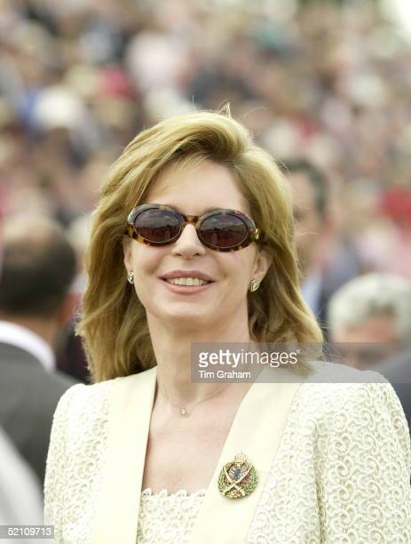 Queen Noor Of Jordan At The Sovereign's Parade At The Royal Military Academy, Sandhurst, Surrey