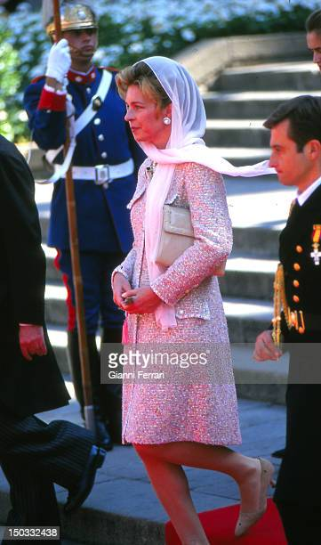 Queen Noor of Jordan at the wedding of the Infanta Cristina daughter of the Spanish Kings Juan Carlos and Sofia 04th October 1997 Barcelona