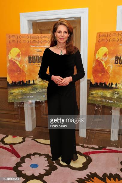 """Queen Noor of Jordan attends the """"Budrus"""" premiere at the Crosby Street Hotel on October 6, 2010 in New York City."""