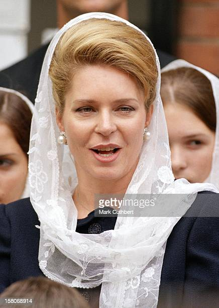 Queen Noor Of Jordan Attends The Wedding Of Princess Alexia Of Greece And Carlos Morales Quintana At The St. Sophia Cathedral In London. .