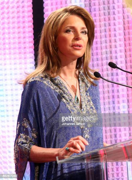 Queen Noor of Jordan delivers a speech during the Women's World Awards show at Vienna Stadthalle on February 5 2009 in Vienna Austria