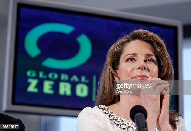 Queen Noor of Jordan listens during a news conference at the National Press Club April 8 2010 in Washington DC Leaders of Global Zero a campaign in...