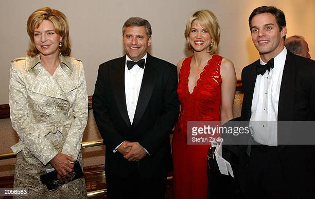 Queen Noor of Jordan president and chief executive officer of Turner Broadcasting Phil Kent and anchors Paula Zahn and Bill Hemmer attend a CNN...