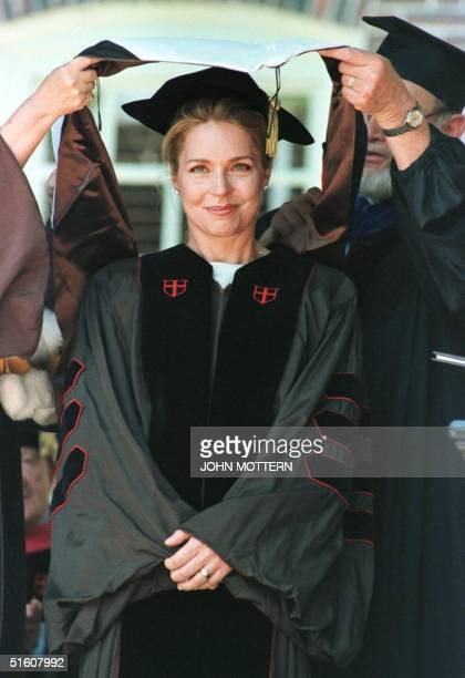 Queen Noor of Jordan receives an honorary degree from Brown University 31 May 1999, in Providence, Rhode Island. The American-born Queen Noor was the...