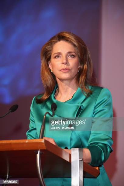 Queen Noor of Jordan the widow of the late King Hussein is pictured during her speech before being awarded of the Global Water Price at Pavillon...
