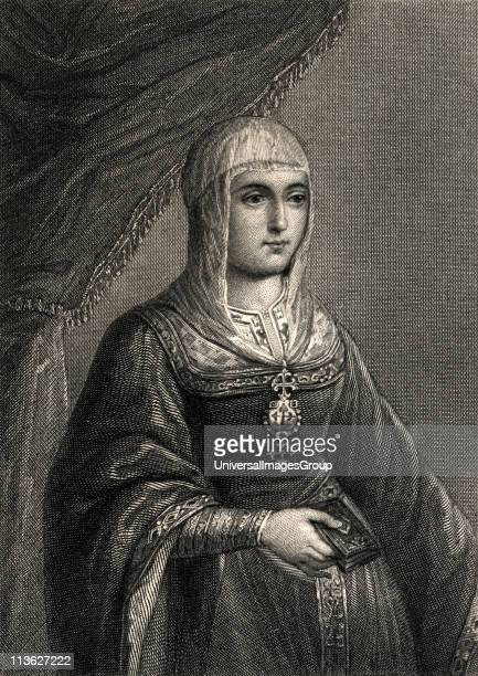 Queen of Castile and of Aragon ruling the two kingdoms jointly from 1479 with her husbandEngraving by W Greatbatch from the original in the Royal...