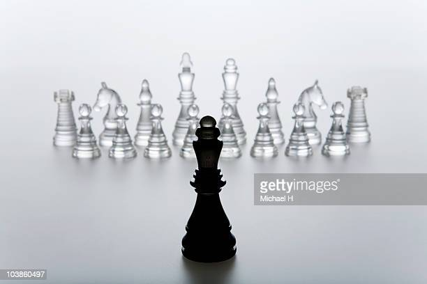 Queen of chess that stands in front of enemy