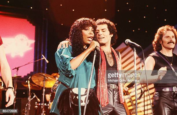 Queen of Disco Donna Summer performs onstage with the vocal group Brooklyn Dreams which consisted of Joe Esposito Eddie Hokenson and Bruce Sudano on...