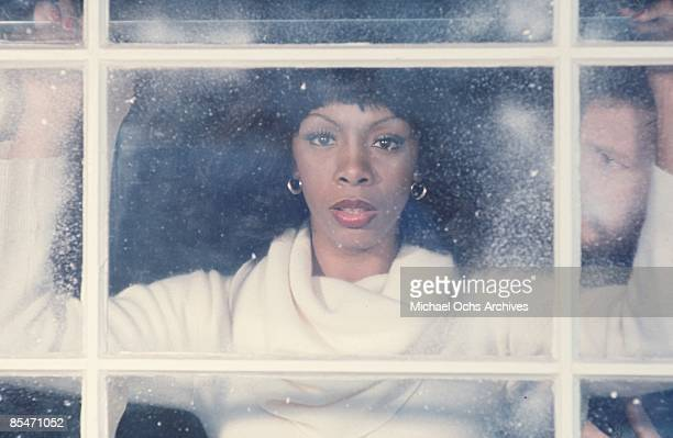 'Queen of Disco' Donna Summer poses during a portrait session at her home during winter with Chiristmas decorations in December 1976 in Los Angeles...