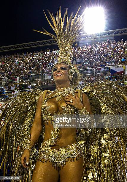 Queen of drums Viviane Araujo from Salgueiro during the samba school's parade of Rio de Janeiro's carnival at Marques de Sapucai on February 21 2012...