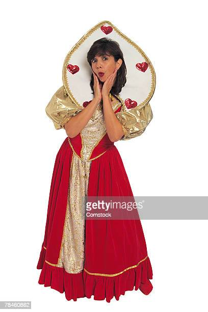 queen of hearts character - queen of hearts stock photos and pictures