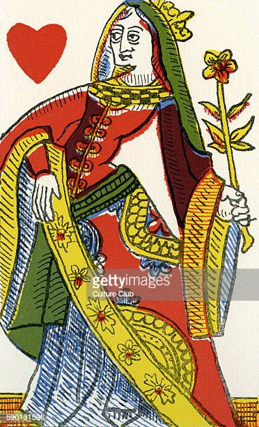 Queen of Hearts / Dame de coeurs 16th century French playing card from Rouen by Pierre Marechal c 1567