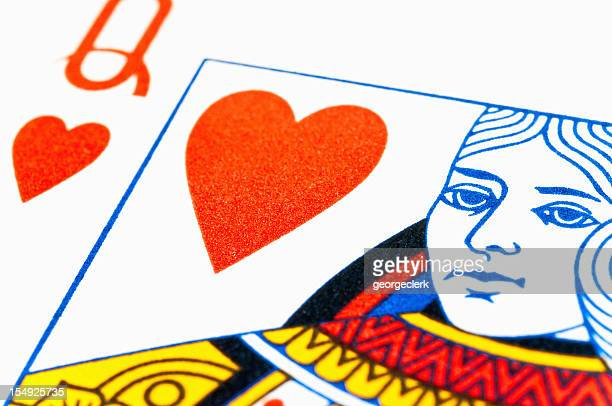 queen of hearts - hearts playing card stock photos and pictures