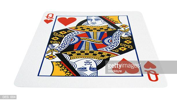 queen of hearts playing card, planar view - queen of hearts stock photos and pictures
