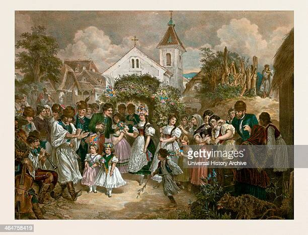 Queen Of Pentecost Hungary 19th Century Village Party Man Woman Children Girls Flowers Musical Instruments Dance Liszt Gourmet Archive Hungarian Folk...