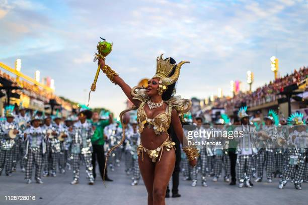 Queen of Percussion Camila Silva of Mocidade Independente de Padre Miguel during the parade at 2019 Brazilian Carnival at Sapucai Sambadrome on March...