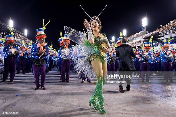 Queen of Percussion Christiane Torloni of Grande Rio Samba School celebrates during their parade at the 2014 Brazilian Carnival at Sapucai Sambadrome...