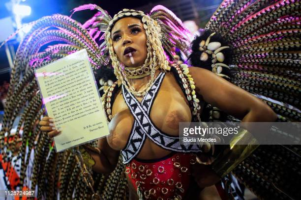 Queen of Percussion Evelyn Bastos of Mangueira during the parade at 2019 Brazilian Carnival at Sapucai Sambadrome on March 04 2019 in Rio de Janeiro...
