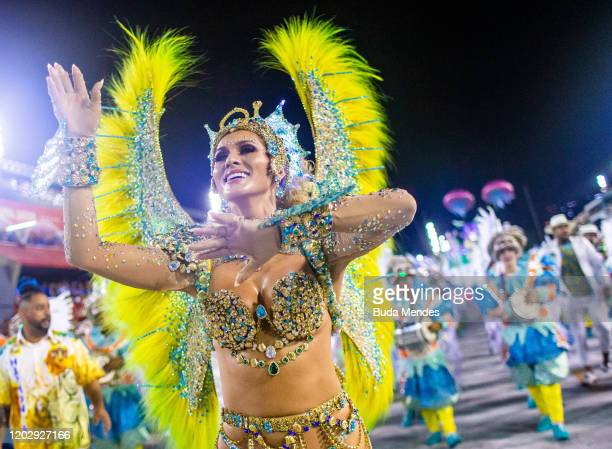 Queen of Percussion Livia Andrade of Paraiso do Tuiuti samba school performs during the first night of 2020 Rio's Carnival Parades at the Sapucai...