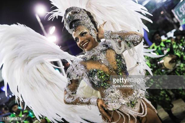 Queen of Percussion Quiteria Chagas of Imperio Serrano poses during their parade at 2019 Brazilian Carnival at Sapucai Sambadrome on March 03 2019 in...