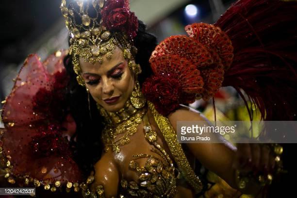Queen of Percussion Viviane Araujo of Academicos do Salgueiro Samba School performs during the 2020 Rio de Janeiro Carnival champions' parade at the...