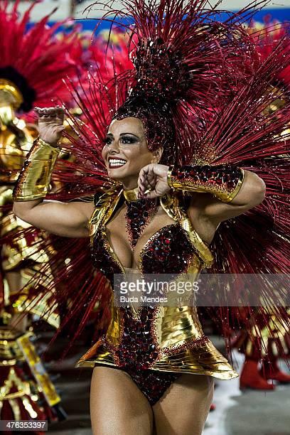 Queen of Percussion Viviane Araujo of Salgueiro Samba School perform during their parade at 2014 Brazilian Carnival at Sapucai Sambadrome on March 02...