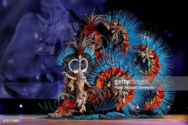 Queen of the 2013 Santa Cruz carnival Amanda Perdomo performs on February 26 2014 in Santa Cruz de Tenerife on the Canary island of Tenerife Spain...