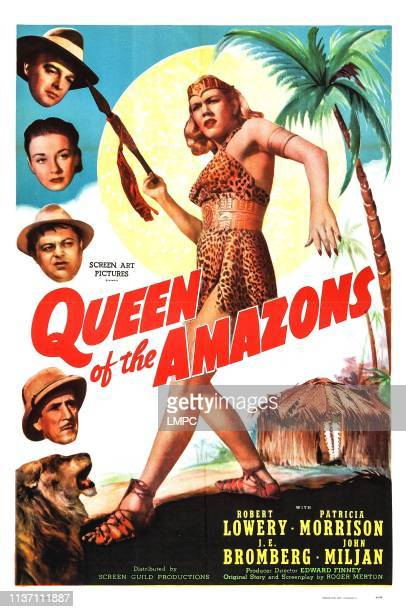 Queen Of The Amazons, poster, US poster, Amira Moustafa , left from top: Robert Lowery, Patricia Morison, J. Edward Bromberg, John Miljan, 1947.