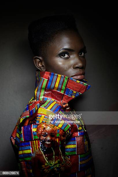 Queen Onyemaechi winner of Nigeria'u2019s Next super Model 2014 wears a creation by designer Kente Queen at a fitting in the Lagos Oriental Hotel...
