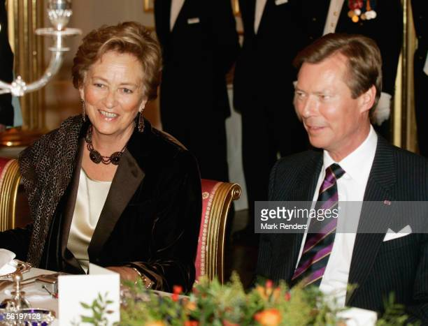 Queen Paola and Grand Duke Henri from Luxembourg have lunch before the opening of an exhibition celebrating 100 years since Queen Astrid's birth at...