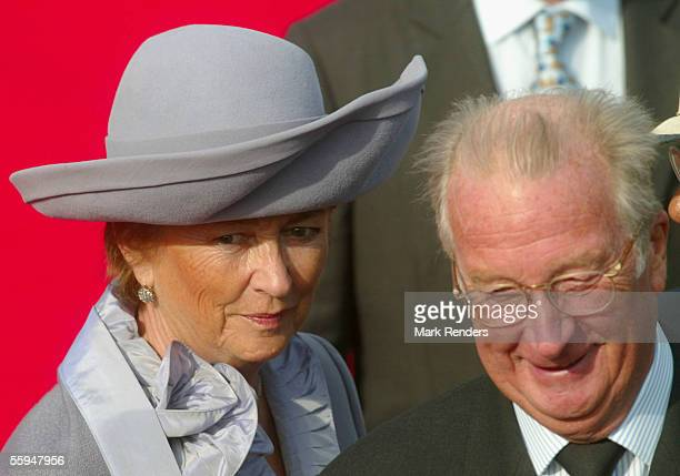 Queen Paola and King Albert assist the official welcome ceremony at the Place Des Palais on October 18 2005 in Brussels The President of the...