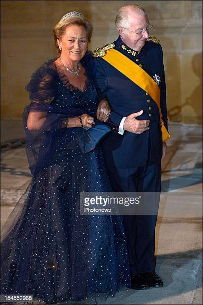 Queen Paola and King Albert II of Belgium arrive at the Gala Dinner for the wedding of Prince Guillaume Of Luxembourg and Stephanie de Lannoy at the...