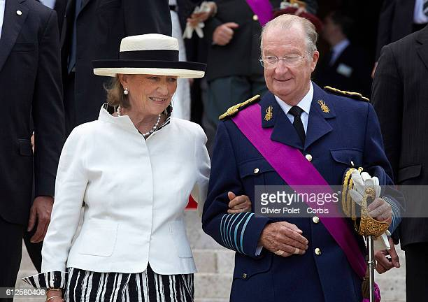 Queen Paola and King Albert II of Belgium pictured before the Te Deum Mass at the SaintMichel and Gudule cathedral in Brussels Tuesday 21 July 2009...