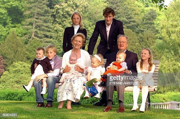 Queen Paola and King Albert II pose with their grandchildren during a photo session of the Belgian Royal family at the palace of Laken Laeken...