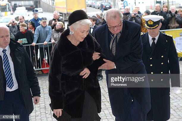 Queen Paola and King Albert of Belgium attend a mass for the deceased of the Royal Family on February 18 2014 in Brussels Belgium