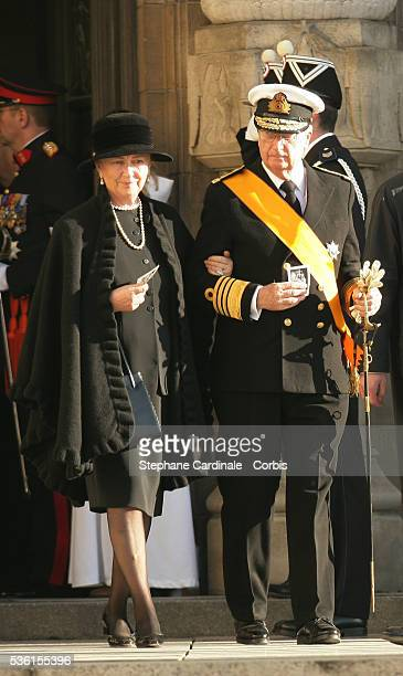 HRH Queen Paola and King Albert of Belgium attend the funeral of Grand Duchess of Luxembourg JosephineCharlotte daughter of former Belgian King...