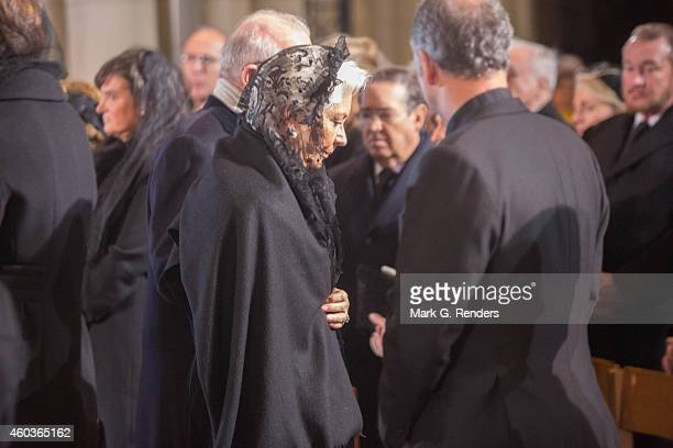 Queen Paola and King Albert of Belgium attend the funeral of Queen Fabiola of Belgium at Notre Dame Church on December 12, 2014 in Laeken, Belgium.