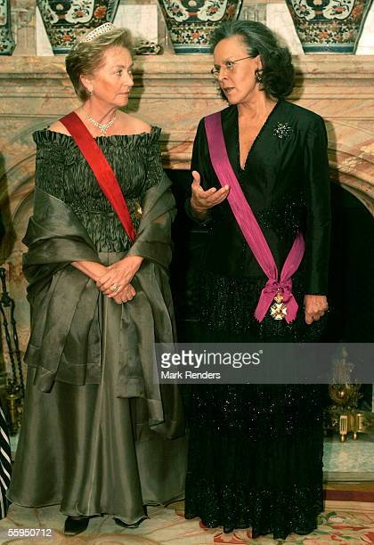 Queen Paola and Maria Jose Ritta pose before the gala dinner at Laeken Castle October 18 2005 in Brussels Belgium Portuguese President Jorge Sampaio...