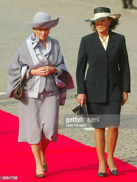 Queen Paola and Mrs Maria Jose Ritta assist the official welcome ceremony at the Place Des Palais on October 18 2005 in Brussels The President of the...