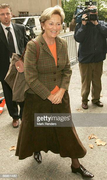 Queen Paola arrives at the Erasmus Hospital to visit her daughter in law Crown Princess Mathilde who gave birth to a baby boy named Emmanuel Leopold...