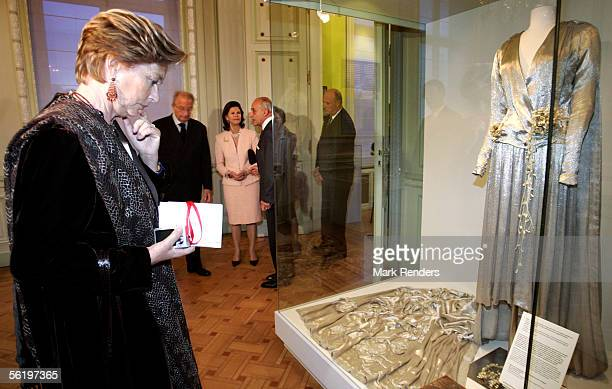Queen Paola attends the opening of an exhibition celebrating 100 years since Queen Astrid's birth BelVue Museum on November 17 2005 in Brussels...
