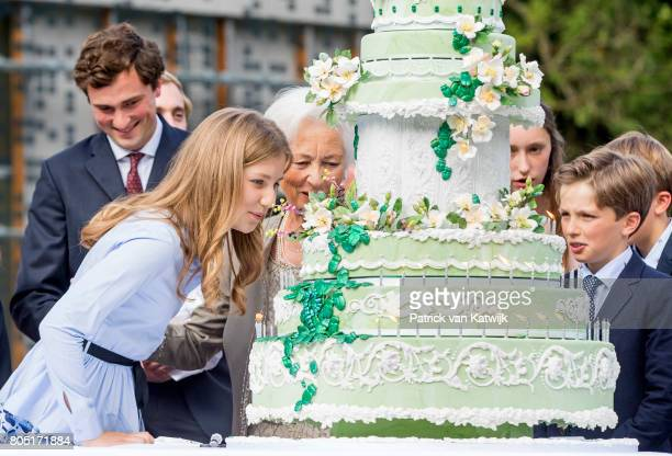 Queen Paola Crown Princess Elisabeth Prince Amedeo Princess Laetitia Maria and prince Nicolas of Belgium attend the 80th birthday celebrations of...