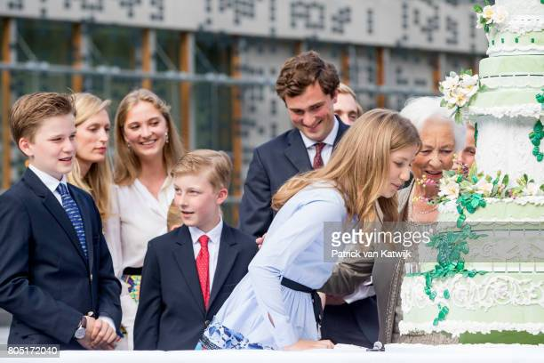 Queen Paola Crown Princess Elisabeth Prince Gabriel Prince Emmanuel Prince Amedeo Lili and Princess Luisa Maria of Belgium attend the 80th birthday...