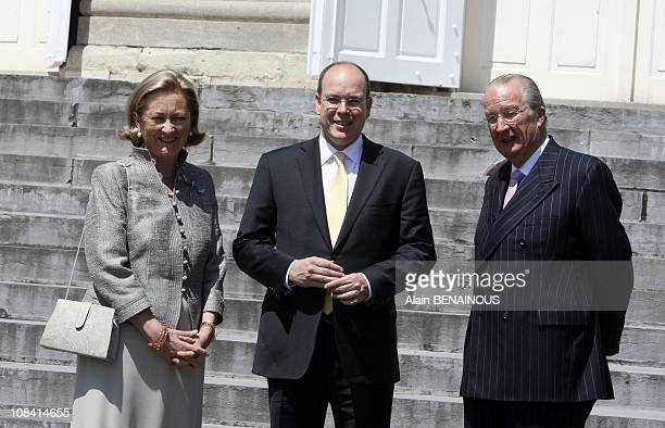 Queen Paola King Albert and Prince Albert in front of Laeken Castle in Brussels Belgium on June 17 2008