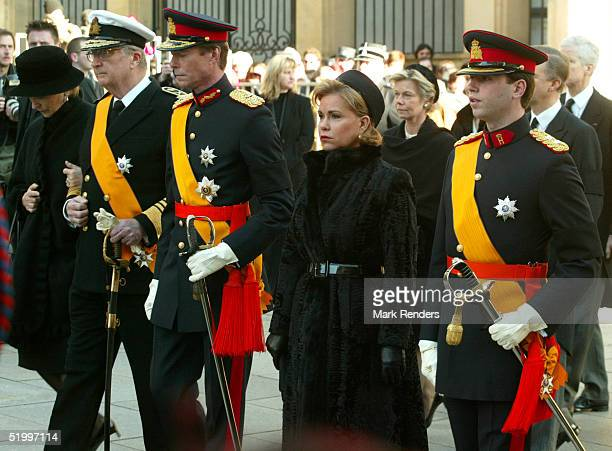 Queen Paola, King Albert, Grand Duke Guillaume, Princess Sibilla and their son walk to the Cathedral for the funeral of the Grand Duchess Josephine...